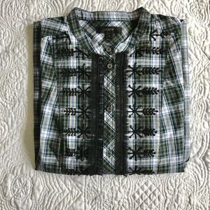J. Crew embellished button top in classic tartan
